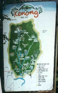Route of 4 day jugle trip through the Kenong National Park.